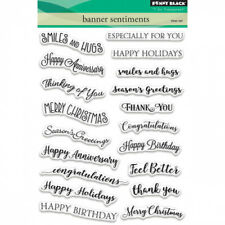 Penny Black Clear STAMPS Banner Sentiments 19pc