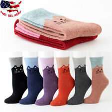 5 Pairs Women's Angora Wool Thick Warm Soft Cute Cat Casual Sports Socks Winter