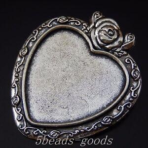 6 pcs Vintage Silver Alloy Heart Shaped Blank Bezel Frame Pendant Tray Charm