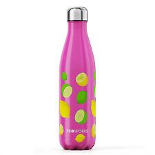 Proworks Hot Pink Lemon & Lime Pattern Stainless Steel Metal Water Bottle Flask