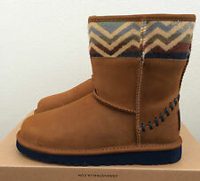 Girls Kids Size 1 UGG Classic Short Deco Pendleton Winter Boots Brown Limited