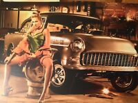 Tin Sign Vintage Model And Car 6
