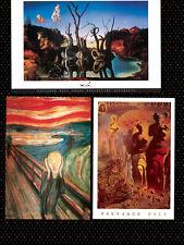 Surrealist Art 3 Individual Posters Dali Elephants Swans Scream Munch New!
