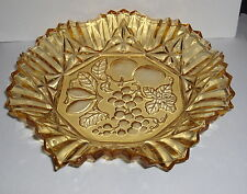 VTG FEDERAL AMBER GOLD GLASS SCALLOPED SAWTOOTH EDGE FRUIT SERVING BOWL DISH