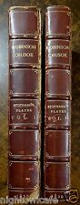 Life & Adventures of Robinson Crusoe 2-Vols 1820 Stothard DEFOE Bayntun Leather