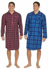 New Mens Warm Soft Thermal Flannel Blue or Red Check Super Soft Nightshirt
