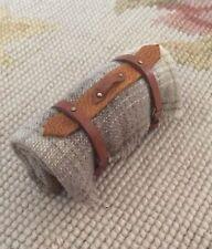 Pat Tyler Dollhouse Miniature Leather/W Plaid Wool Blanket Bed Roll Beige p352