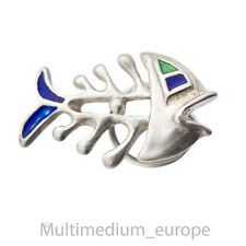 Silber Pin Brosche Fisch Emaille vintage silver pin brooch enamel fish sterling