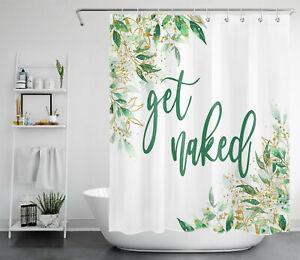 Golden Green Leaves Funny Words Shower Curtain Get Naked For Bathroom Decor