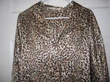 Cacique sensual animal print long sleeves button down shirt night dress sz 26-28