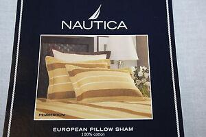 Nautica Pemberton tan brown beige EURO European Bed Pillow Sham 100% cotton new