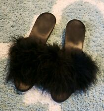 Vtg 50's 60's Chandler's Marabou Ostrich Feather Black Satin Sexy Slippers 6 7