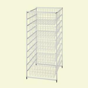 ClosetMaid Portable Drawer Basket Wire 5-Compartments Wide Mesh Steel White