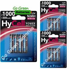 12x HyCell AAA 1000 mAh NiMH Rechargeable Batteries HR03 Cordless Phone