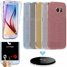 Silicone Glitter Sparkle Front and Back TPU Case Cover For Samsung Galaxy Phones