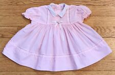 Vintage Party Look Baby Girl Dress Sz 6-9 Mo. Pink Short Sleeve Bow 1960-1970's