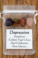Depression Crystal Gift Set Amethyst Tiger's Eye Goldstone Rose Quartz Sadness