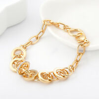 18K Gold Filled Women's Fashion Rings Crystal Solid Chain Charm Bracelet 8''