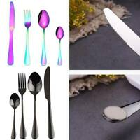 32pcs Colorful Iridescent Fork Spoon Stainless Cutlery Set for Dining UK
