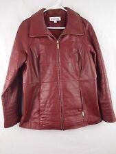 Bradley Bayou Red Leather Jacket Coat Gold Zipper Lined Womens size M Medium