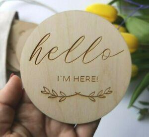 Laser Cut Wooden 'Hello I'm here' Plaque Nursery Decor, Baby Shower Gift, MC1x