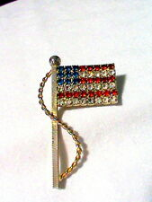 Old American Flag Brooch Blue, Red and White Rhinestones