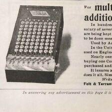 1902 Comptometer Antique Calculator Adding Machine Felt Tarrant Vintage Print Ad