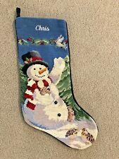 LANDS END Snowman Needlepoint Christmas Stocking Monogrammed Chris