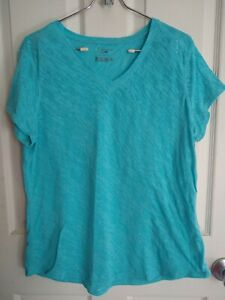 Tek Gear Shirt Womens Large Turquoise Dry Tek Cotton/Polyester Blend Lightweight