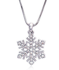 Clear Crystal Snow Snowflake Bridesmaid Pendant Necklace Wedding Bridal Jewelry