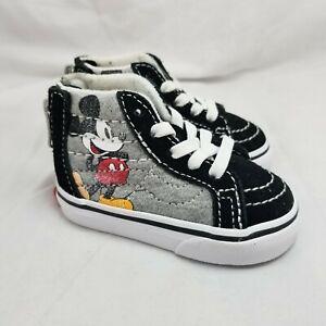 Vans x Disney Mickey Mouse Sk8 Hi Zip Canvas Skate Toddler Shoes Size 3