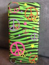 PLASTIC PEACE SIGNS METAL HARD SHELL IPHONE 5 / IPOD TOUCH 5 CASE - GENTLY USED