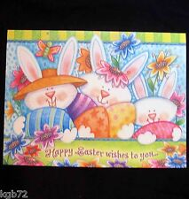 Leanin Tree Easter Greeting Card Flowers Easter Bunnies Bunny Multi Color E36
