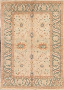 Ivory Oushak Egyptian Vegetable Dye Hand-knotted Area Rug Oriental Carpet 5x8 ft