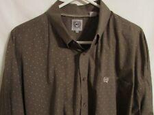CINCH Men's Western Rodeo Cowboy 2XL Cotton Long Sleeve Shirt Open Pocket Brown