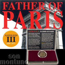 Napoleon III - Father of Paris - Bronze 5 Centimes French Coin in Box with COA