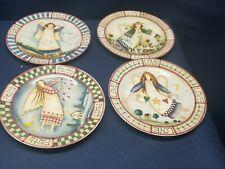 Decorative Folk Art Country Angel Plates 4 Different Angel Peace/Joy/Love/Faith