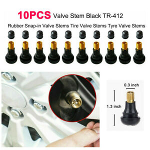 10pcs/Set Snap-In Black Rubber Valve Stem TR412 for Tubeless 11.5mm Rim Holes
