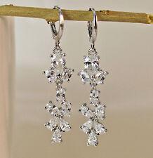 18K White Gold Filled- 2'' Waterdrop White Chic Topaz Zircon Women Hoop Earrings