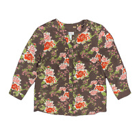 New $41 value DENIM&CO Size PM brown floral poly-woven long sleeve V-neck blouse