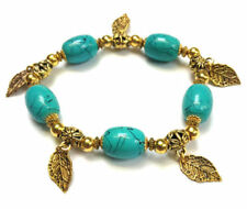 Tibetan Gold Style Turquoise Glass Bead Stretch Bracelet Leaf Charms UK MADE