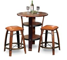 "New Authentic Wine Barrel Bistro Table Complete Set 2-24"" Stools W/ Leather Tops"