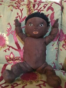 1980s MATTEL - MY CHILD DOLL Soft Joined Baby AA Ethnic Black Baby RETRO TOY