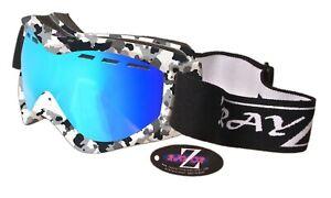 Rayzor Ski Snowboard Goggle Camo UV400 Anti Fog Blue Vented Dual Lens 141 RRP£69