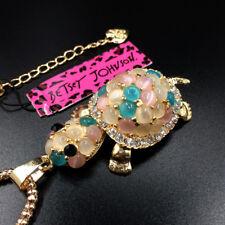 Multi-Color Opal Tortoise Turtle Betsey Johnson Pendant Necklace Sweater Chain