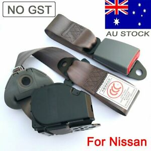 For Nissan Cars 3 Point Universal Safety Seat Belt Strap Retractable Dark Grey