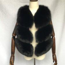 Women's 100% Real Full Pelt Fox Fur Vest Gilet Waistcoat Jacket Coat Whole Skin