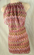 RIVER ISLAND UK6 Pink&Brown Pinstripe/Paisley Frill Mini DRESS Embroidery Ruffle