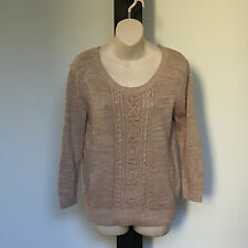 'DOTTI' EC SIZE 'M' OATMEAL CABLE KNIT PATTERN LONG SLEEVE TOP WITH RIBBON TIE