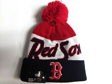 Boston Red Sox Knit Hat New Era Cuff Pom Script Beanie Stocking Cap MLB